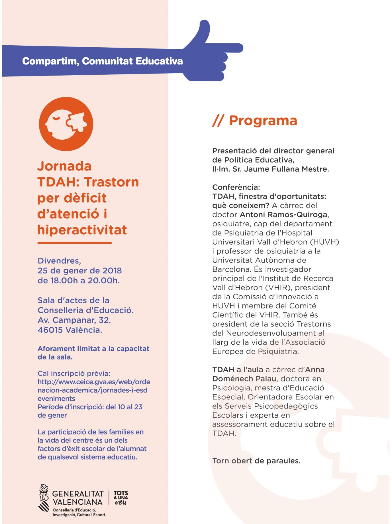 cartel jornadas TDAH valencia - REDTDAH